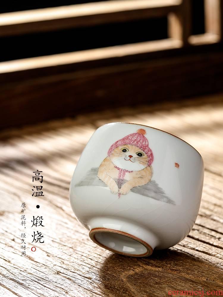 Jingdezhen pure manual your up master kung fu tea cup single CPU hand - made the cat sample tea cup single ceramic tea set
