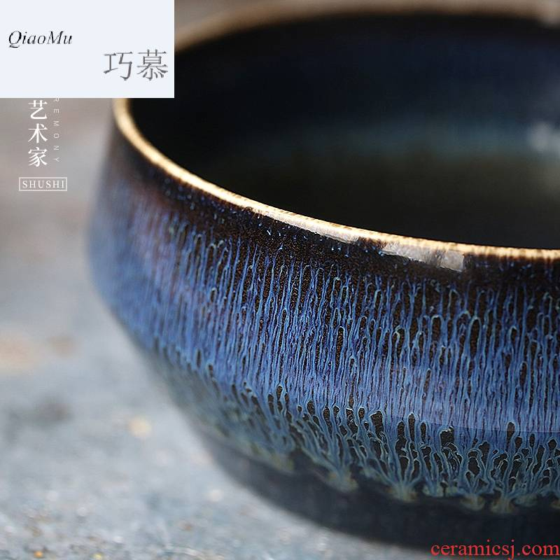 Qiao mu SU washing jingdezhen ceramic Japanese tea large creative kung fu tea accessories up temmoku glaze antique water