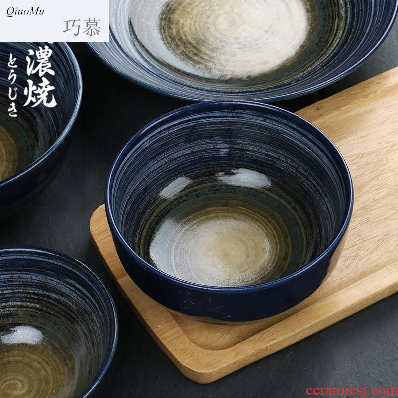 Qiao mu temmoku glaze household tableware ceramic bowl of the big plate Japanese large bowl of soup bowl rainbow such as bowl hat to bowl