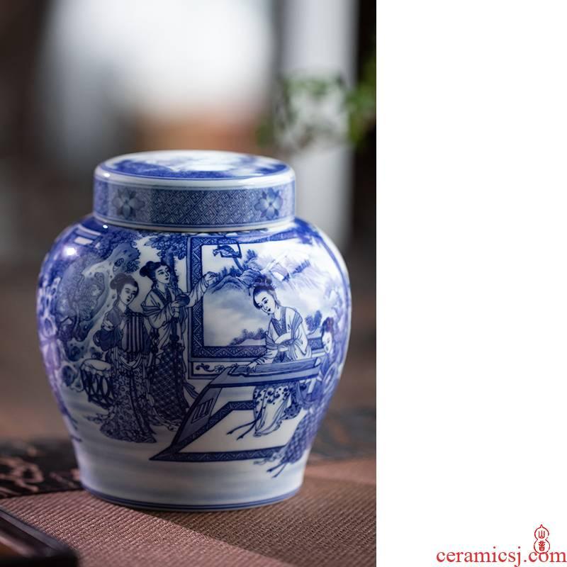 Art home benevolence ten beautiful blue and white double sealing ceramic tea pot lid caddy fixings jingdezhen blue and white porcelain