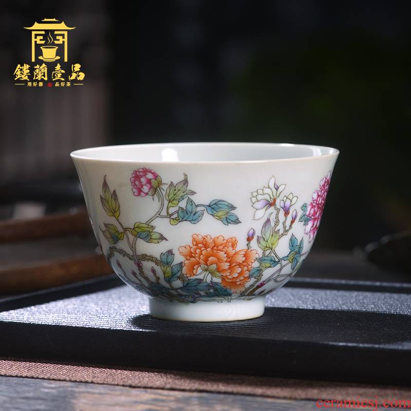 Jingdezhen ceramic all hand - made pastel recent master cup from the individual single cup sample tea cup tea cups