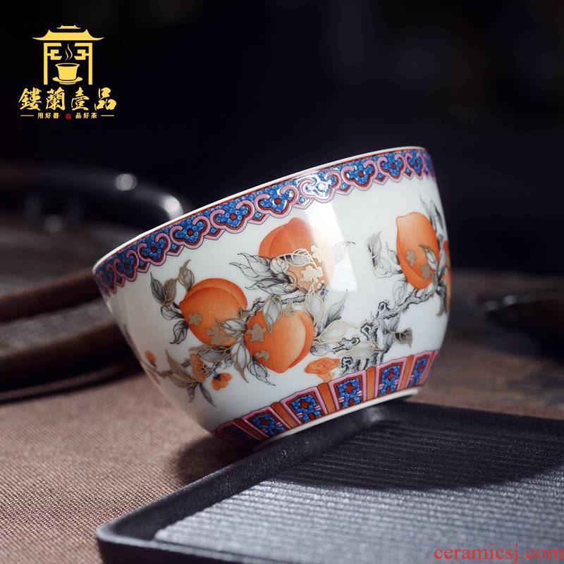 Jingdezhen ceramic all hand - made color ink alum red peach master cup large cups kung fu tea cup, bowl