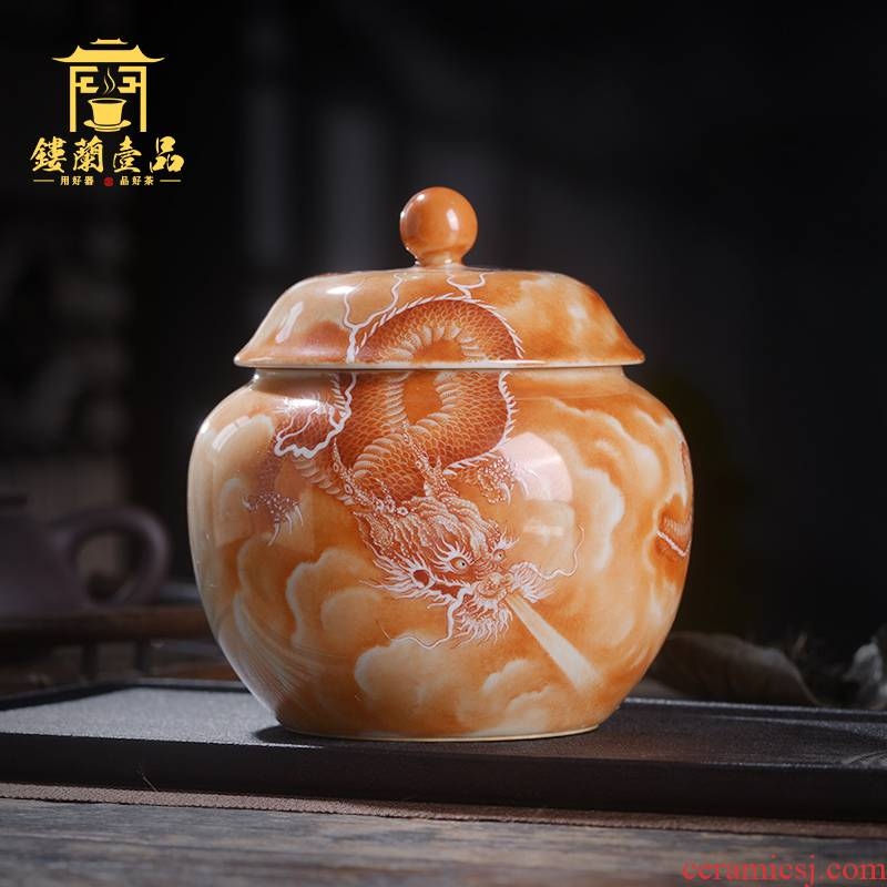Jingdezhen ceramic all hand - made alum red YunLongWen caddy fixings storage tanks with cover seal pot home furnishing articles