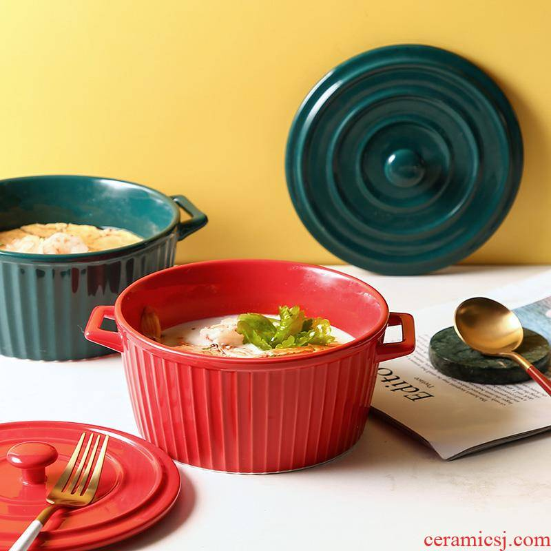Excellent hold to guest powder bowl with cover ears of snails soup bowl of household ceramics oversized mercifully rainbow such as bowl Nordic creative move