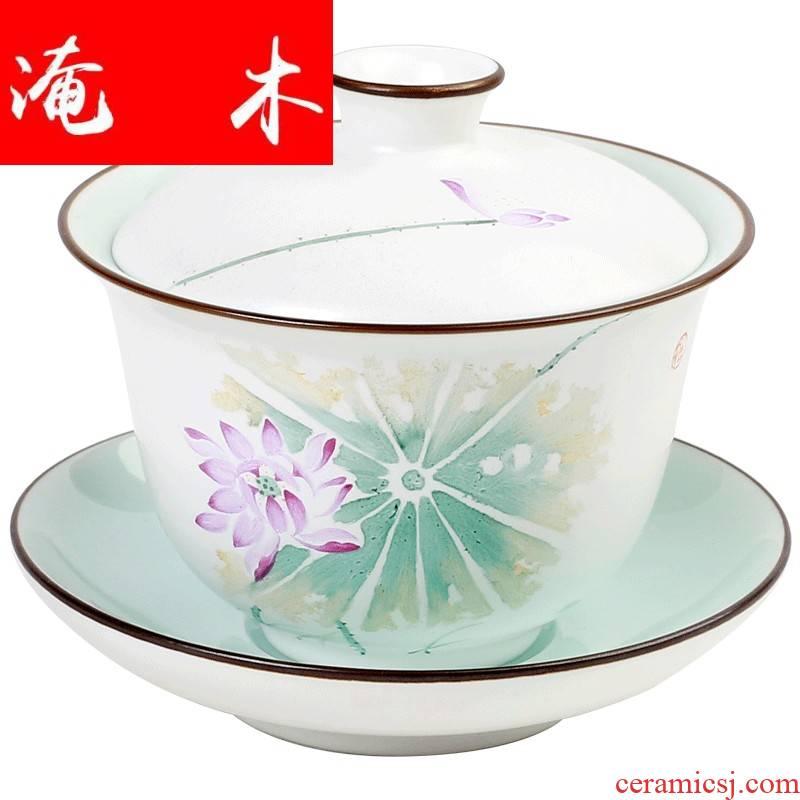 Flooded, rhyme tureen tea bowl of jingdezhen kung fu tea set hand - made pastel large three bowls of ceramic tea