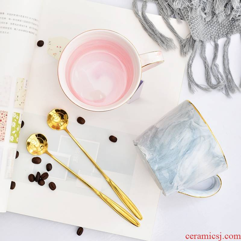 Qiao mu creative marble paint grain lovers mugs office glass ceramic cup cup cup coffee for breakfast