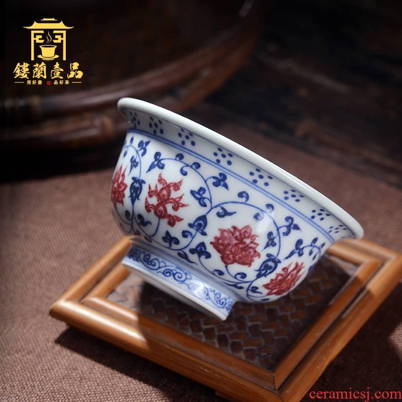 Jingdezhen ceramic all hand - made imitation Ming yongle blue tie up branch pressure hand master of kung fu tea tea tea cup