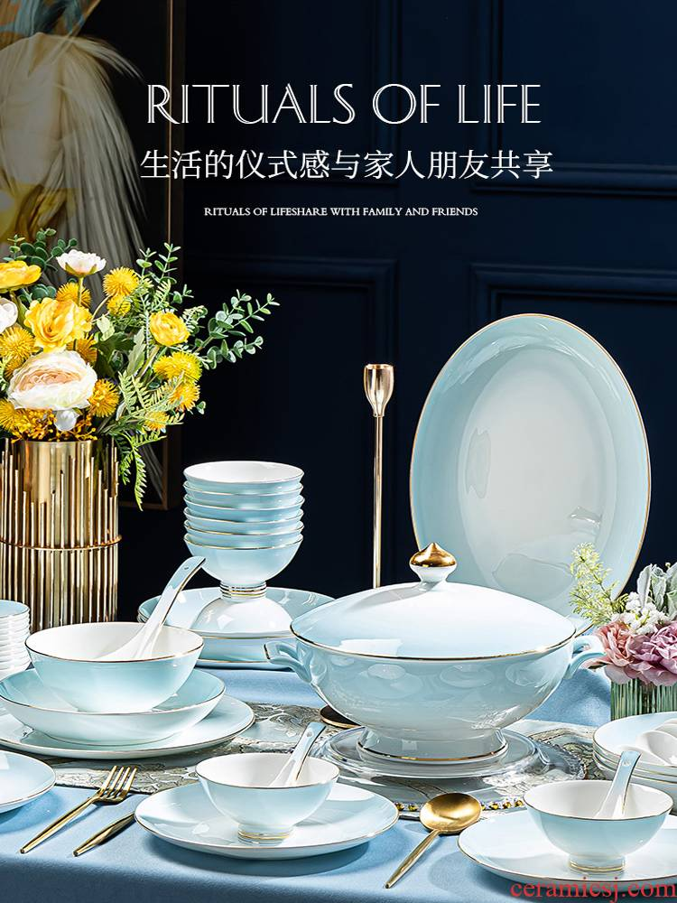 High - end ipads porcelain tableware suit light jingdezhen combination dishes household contracted High - end key-2 luxury modern housewarming dishes