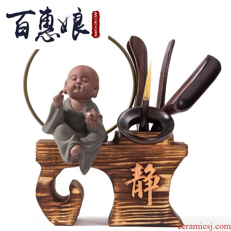 (niang tea six gentleman 's suit ebony household kung fu tea set combination pet accessories brush pot purple sand tea set