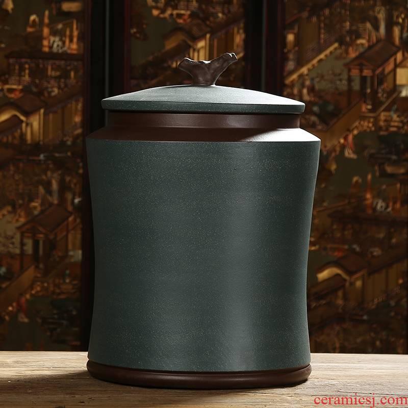 Qiao mu JS yixing purple sand tea pot manual caddy fixings mud painting storage POTS tea urn pu - erh tea cake tin