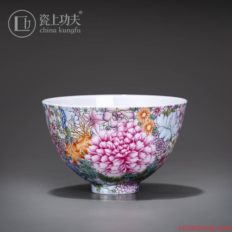 Flower is the master cup colored enamel hand - made teacup personal special single cup participants in high - grade jingdezhen tea set orphan works