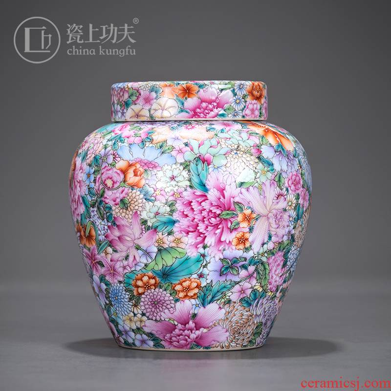Colored enamel flower small caddy fixings pure manual hand - made porcelain jar of furnishing articles of handicraft collection jingdezhen porcelain orphan works