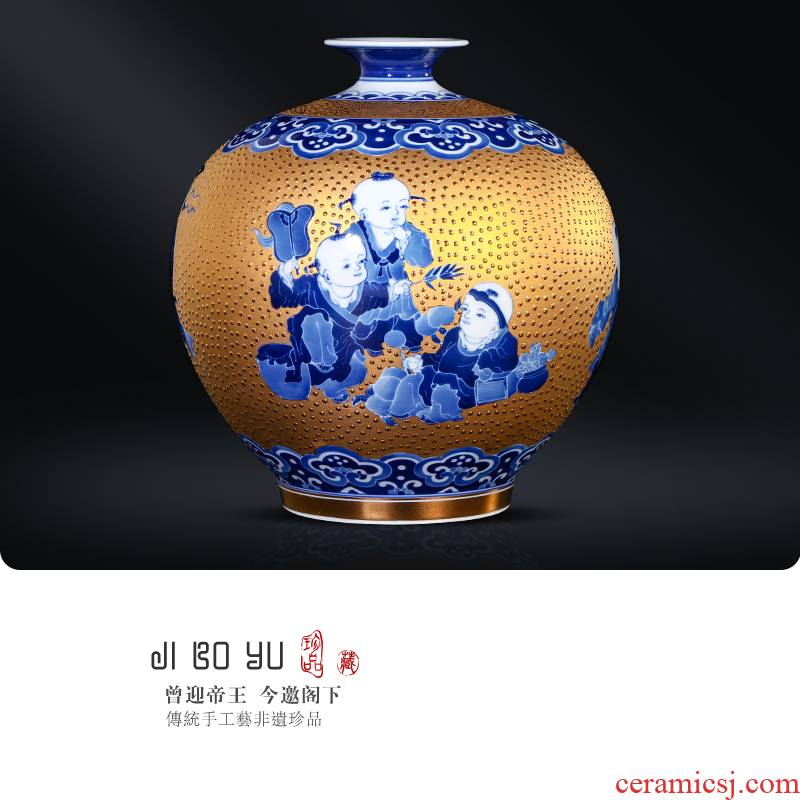 Jingdezhen ceramics Chinese hand - made with Jin Ying, play figure pomegranate bottles of the sitting room porch TV ark adornment furnishing articles