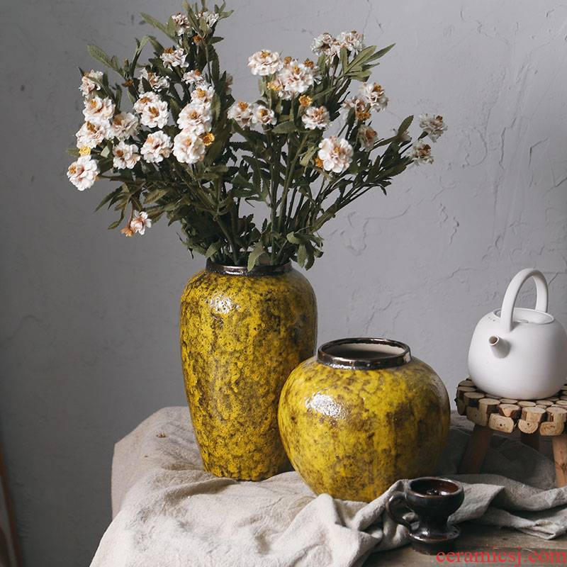 Royal 3 mud flower arranging the rural wind sitting room decorates the dried flower implement ceramic vase mesa amber yellow desktop furnishing articles