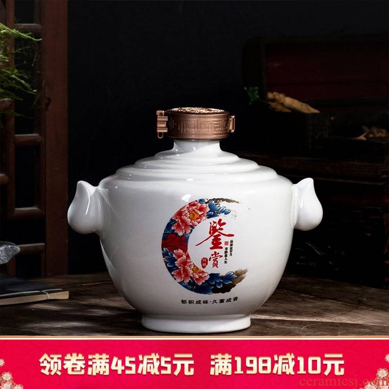 Jingdezhen ceramic jar 1/2/3/5/10 in jin household seal bottle bulk liquor bottles with gift box