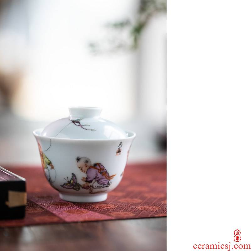 And found of art hall five sub - ka tureen jingdezhen checking ceramic tureen only a single second tureen tea bowl