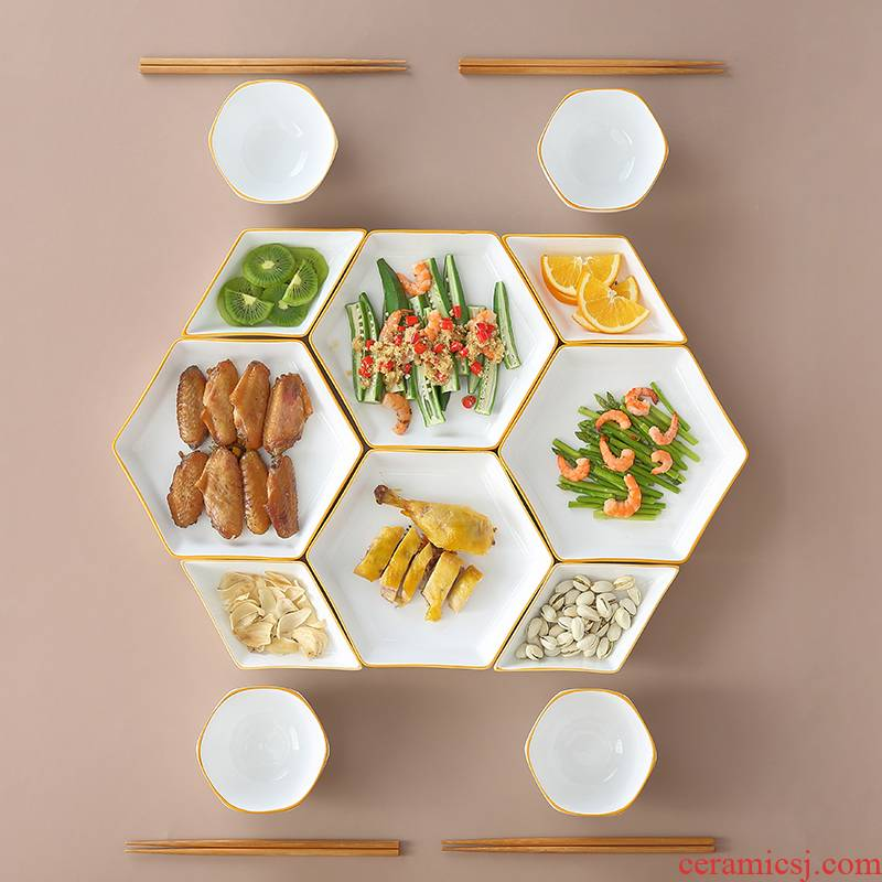 Reunion platter tableware plate suit household creative dishes move ceramic bowl dish combination plate northern dishes
