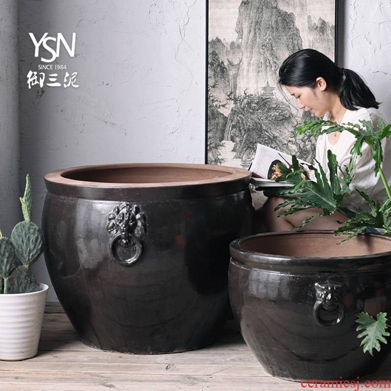 Three clay ceramic courtyard hotel royal legend household is suing tank aquarium earthenware cylinder feel sea garden decoration furnishing articles