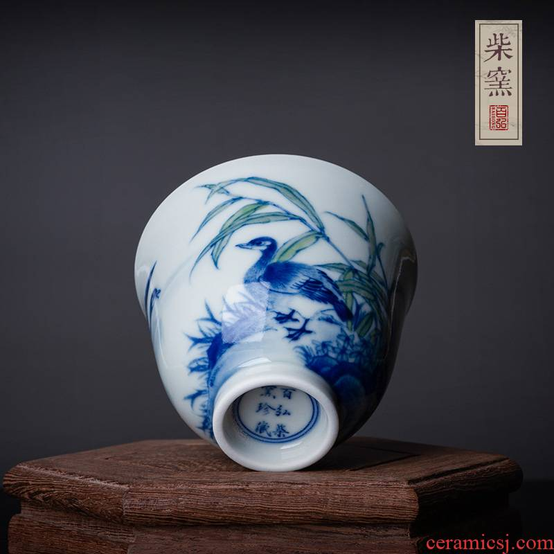 Jingdezhen blue and white reed hundred hong maintain chicago-brewed goose figure fragrance - smelling cup teacups hand - made the master sample tea cup cup single CPU