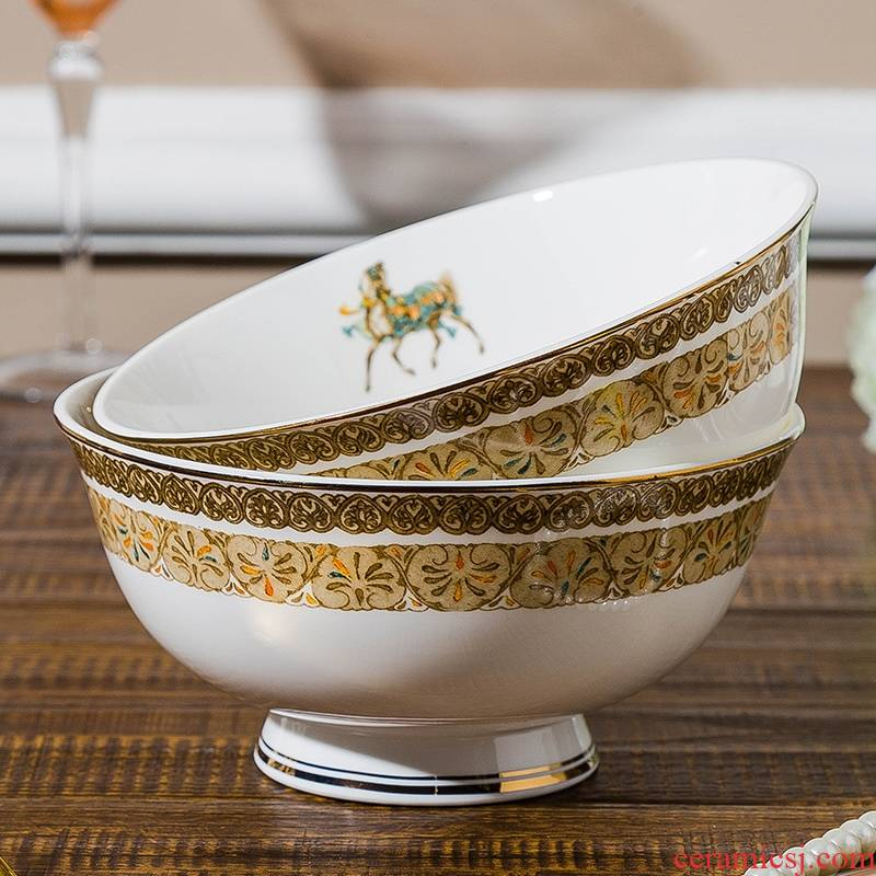 Qiao mu jingdezhen ceramic tableware suit dishes suit high - end set of pottery and porcelain bowl dish bowl chopsticks home in northern Europe