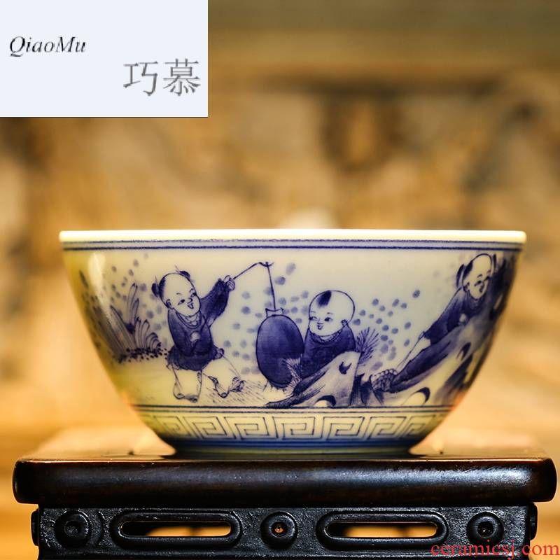 Qiao mu jingdezhen blue and white porcelain masters cup kung fu tea cups hand - made scenery sample tea cup S43018 thin tea cup