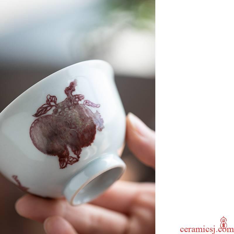 Qin Qiuyan jingdezhen blue and white youligong sanduo cup checking ceramic cups sample tea cup kung fu tea set