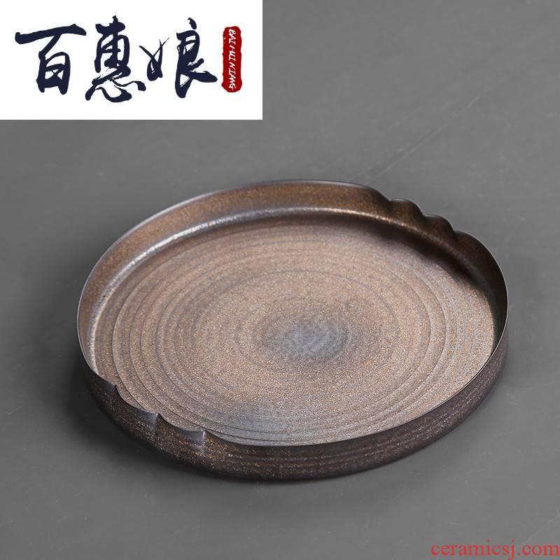 (niang Japanese coarse gold iron glaze earthen POTS dry socket mercifully machine storage manual household circular kung fu tea tray
