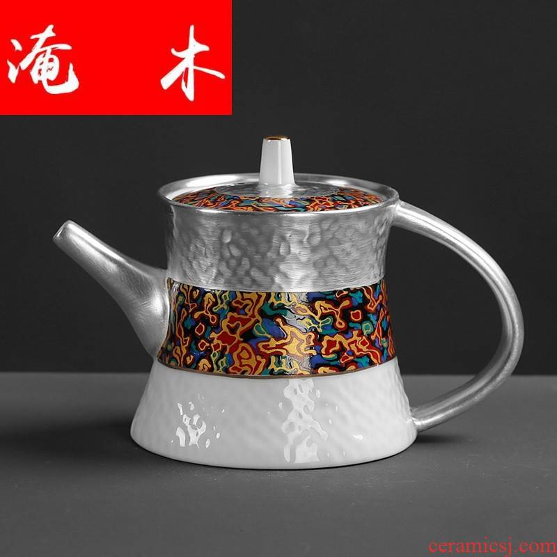 Submerged wood full made red tea tasted silver gilding teapot ceramic kettle kung fu tea pot home office