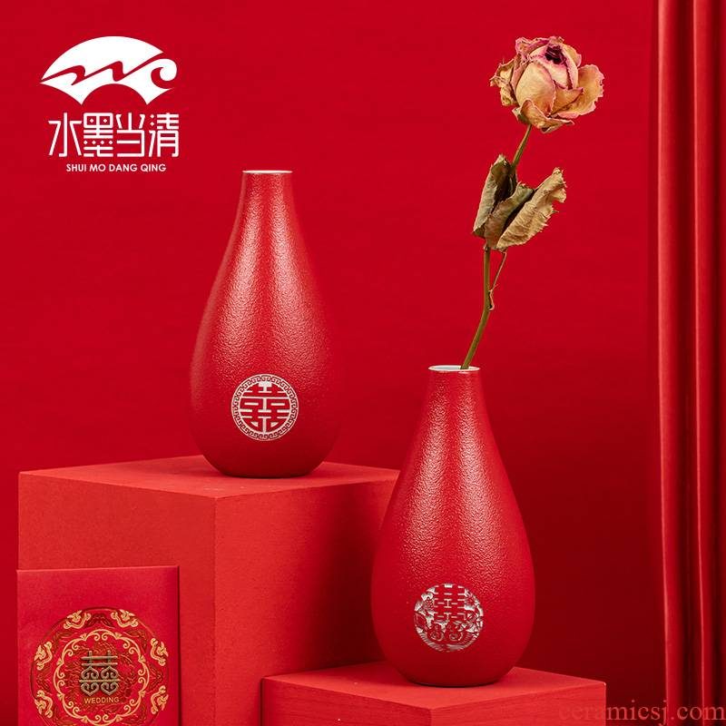 A pair of red wedding vase furnishing articles ceramics marriage room decorate wedding wedding celebrations flower arranging flowers wife question