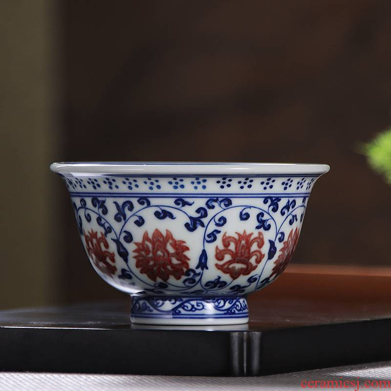 Youligong master cup single CPU hand - made porcelain cups yongle pressure hand cup of jingdezhen ceramic cups sample tea cup