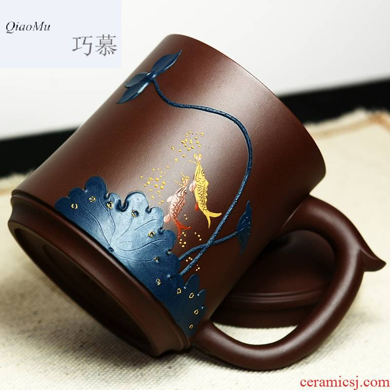 Qiao mu QD famous purple sand cup manually make tea cup yixing boutique collection lotus purple clay green belt cover cup of the republic of China