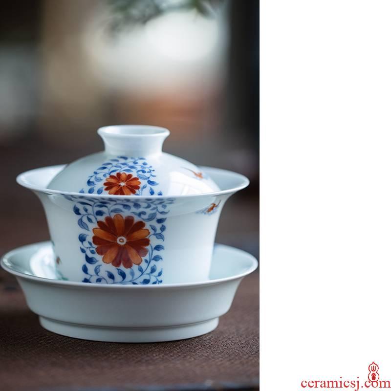 Qin Qiuyan JiTianSan bucket color blessings to high - end tea tureen jingdezhen ceramic bowl tea bowl