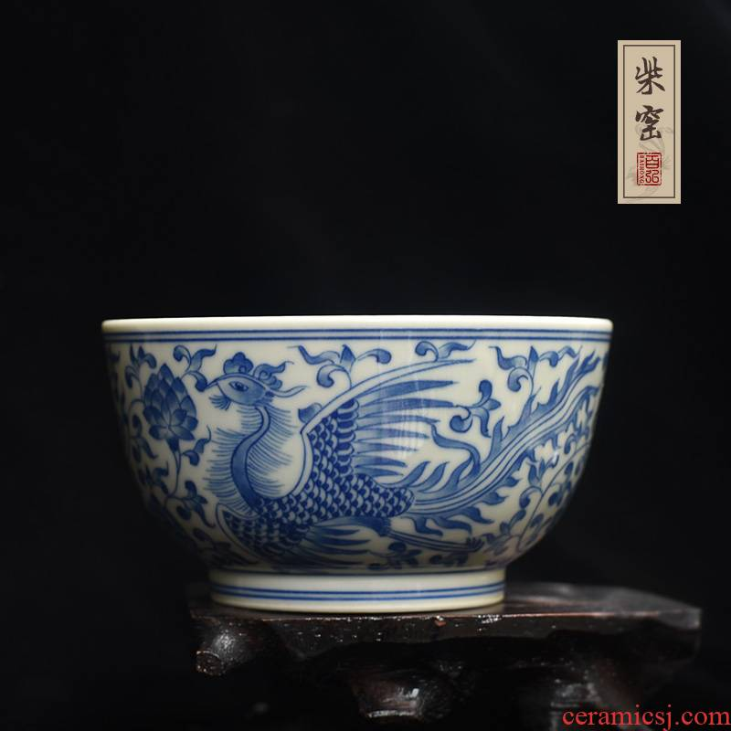 Yihong maintain the jingdezhen blue and white double phoenix bound branch master cup single cup tea cups hand - made wood sample tea cup