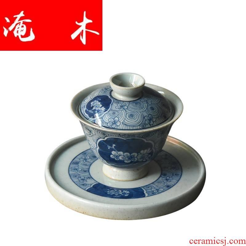 Submerged wood jingdezhen blue and white tureen manual clay glaze under three bowl of kung fu tea bowl