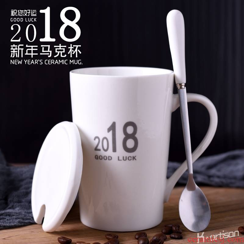 Qiao mu 2018 good luck, creative ceramic cup with cover cup large - capacity glass keller couples spoon coffee cup