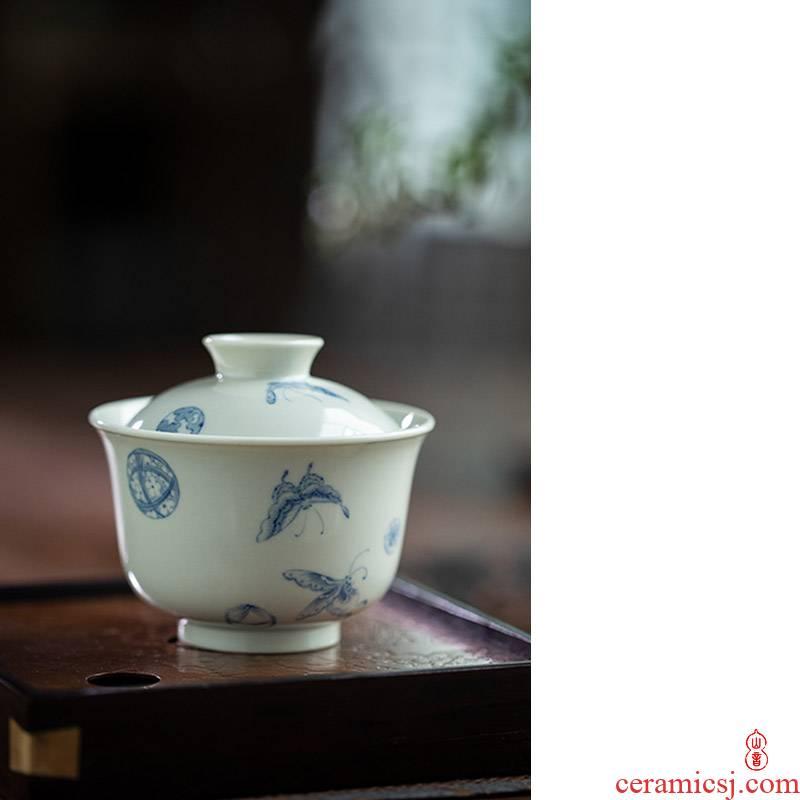 The ball after The rain flower tureen jingdezhen high temperature ceramic tureen teapots only high - end 2 tureen tea bowl