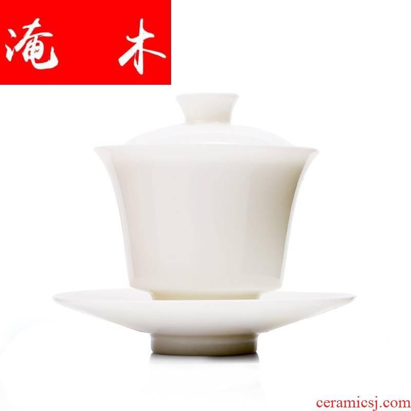 Flooded wooden thin foetus white porcelain tureen dehua white trumpet the white ceramic cups three tea set tea service home