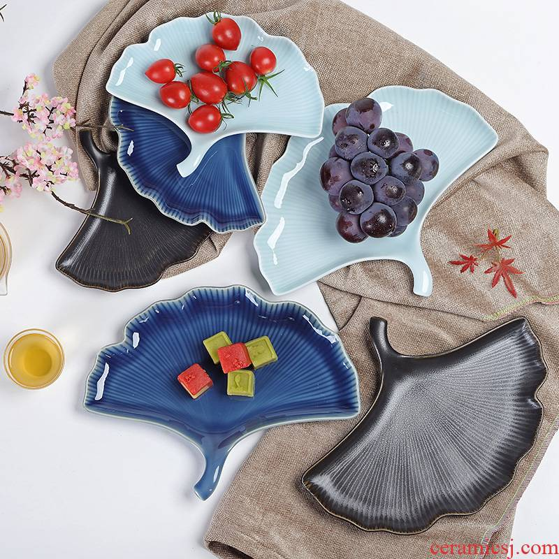 Japanese ceramic disc plate relief platter restoring ancient ways ginkgo biloba fruit bowl stab cuisine dishes, fish all the plates