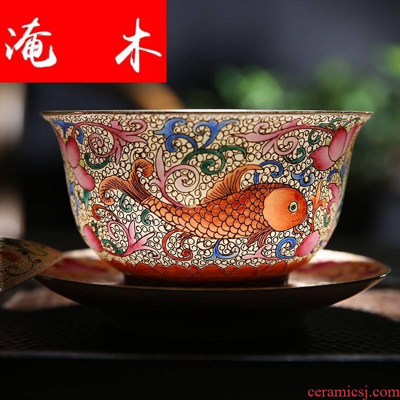 Submerged wood tureen jingdezhen jingdezhen ceramic tea set manually wire inlay enamel hand - made pastel kunfu tea, only three