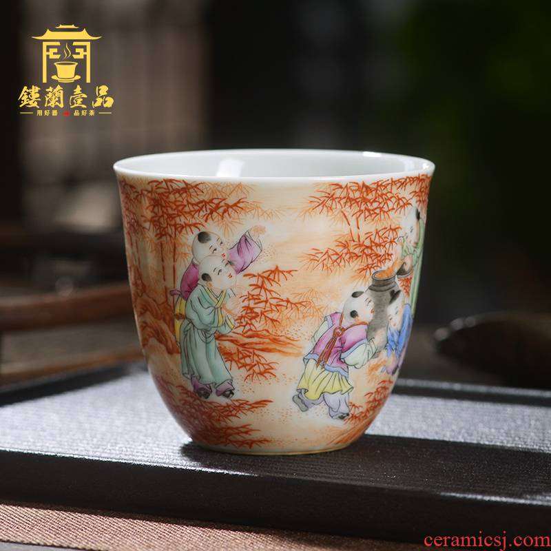 Jingdezhen ceramic all hand - made alum red lad master of kung fu tea tea cup single CPU name cup straight cup