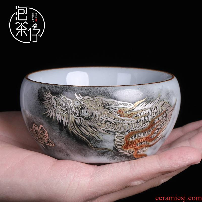 Up with hand - made kung fu tea set a single master cup silver cup of pure manual ceramic large slicing can keep sample tea cup