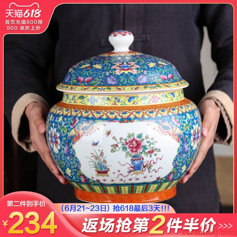 Jingdezhen ceramic colored enamel large moistureproof pu - erh tea and tea caddy fixings household restoring ancient ways with cover seal storage tank
