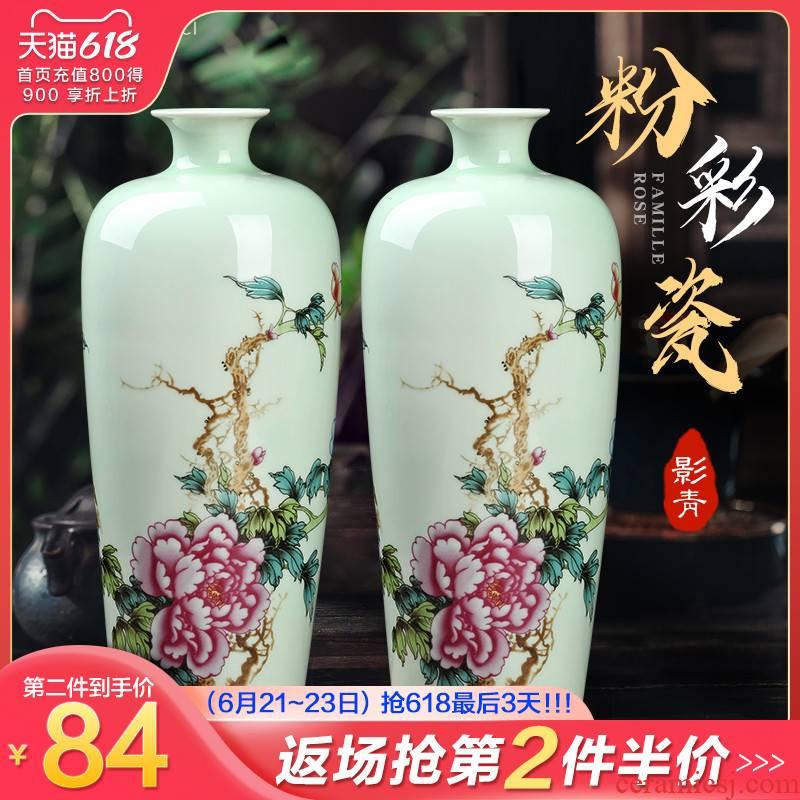 Jingdezhen ceramics rich ancient frame shadow blue enamel vase household flower arranging the sitting room porch decoration handicraft furnishing articles