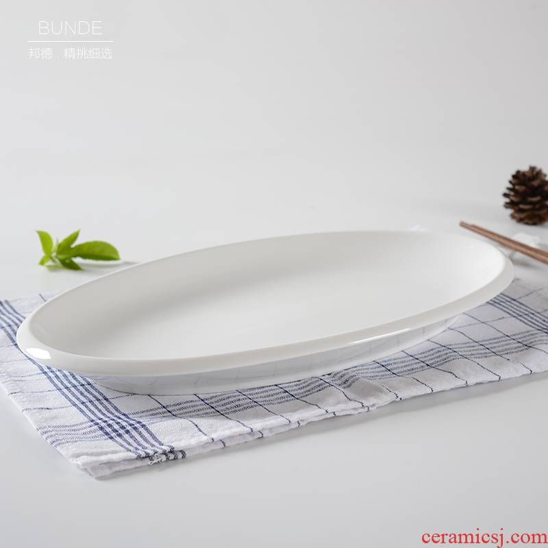 2021 white ceramic fish dish oval large hotel steamed fish home restaurant hotel hotel tableware