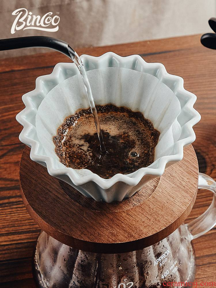 Bincoo hand coffee cup cake cup origami cup ceramic filters filter cups of black walnut share pot