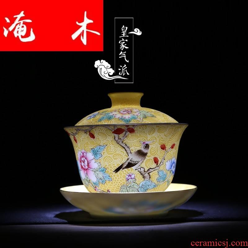 Submerged wood jingdezhen manual plunge into the steak spend three to tea tureen kung fu tea tea hand - made ceramic famille rose porcelain