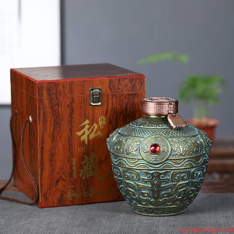 Archaize of jingdezhen ceramic bottle mercifully jars imitation bronze aged wine bottles sealed flask 1 catty 5 jins of gift box