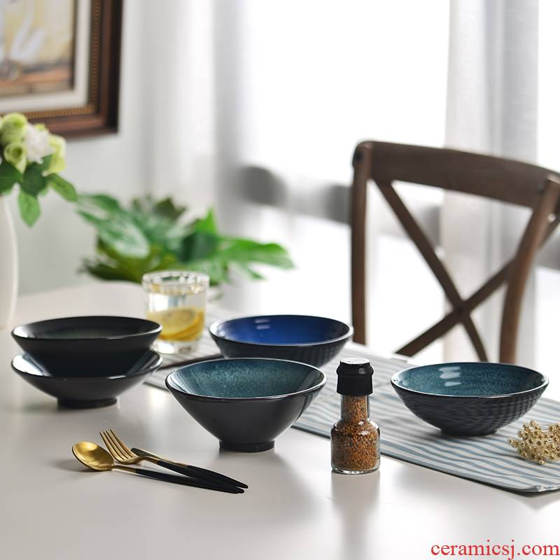 Qiao mu Japanese ceramics la rainbow such as bowl with 7 inch tableware students creative fruit salad bowl large mercifully rainbow such as bowl of rice