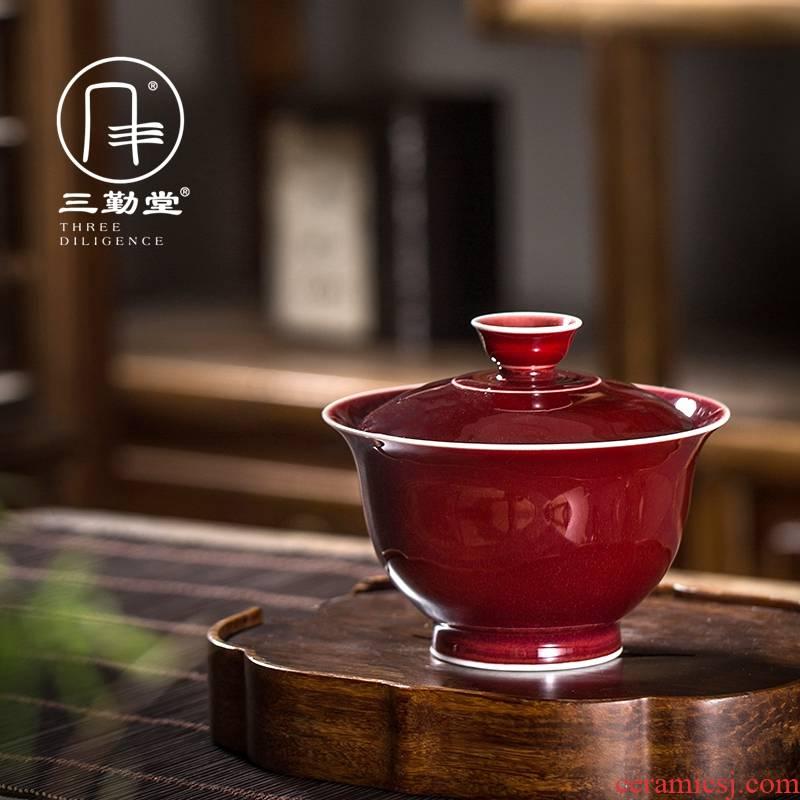 The three regular ruby red prajnaparamita tureen large S11046 jingdezhen ceramic cups kung fu tea set three to bowl