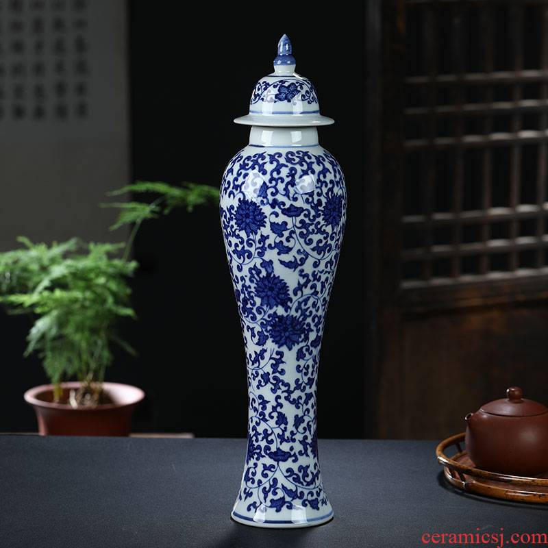 Jingdezhen ceramics arts and crafts porcelain vase of blue and white porcelain vase sitting room adornment household can of rich ancient frame furnishing articles